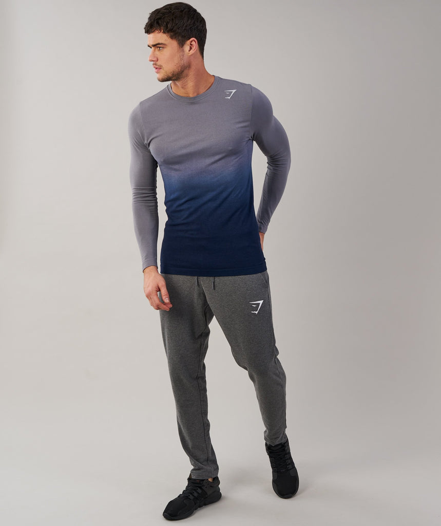 Gymshark Ombre Long Sleeve T-Shirt - Light Grey/Sapphire Blue 1