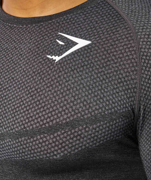Gymshark Performance Seamless Long Sleeve T-Shirt - Black Marl 4