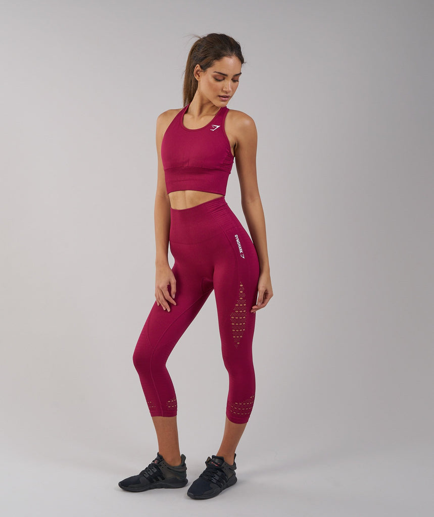 Gymshark Seamless Energy High Waisted Cropped Leggings - Beet 1