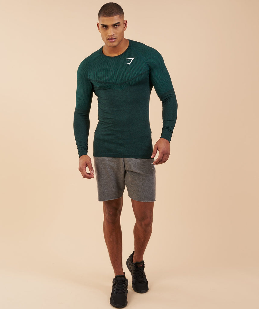 Gymshark Performance Seamless Long Sleeve T-Shirt - Forest Green Marl 1