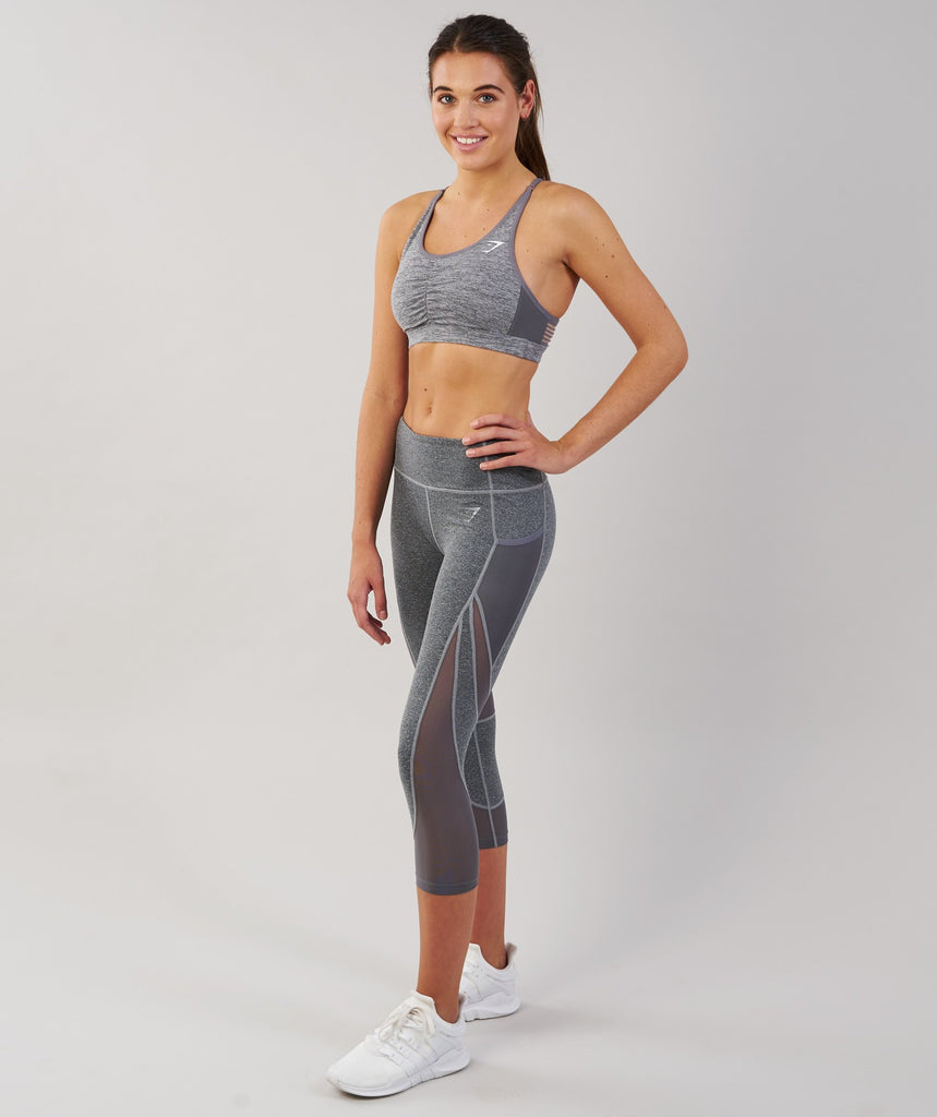 Gymshark Sleek Sculpture Cropped Leggings - Charcoal Marl 1