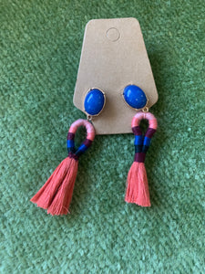 Oval tassle earrings
