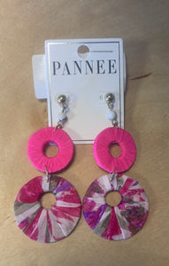 Neon pink fabric wrapped earrings