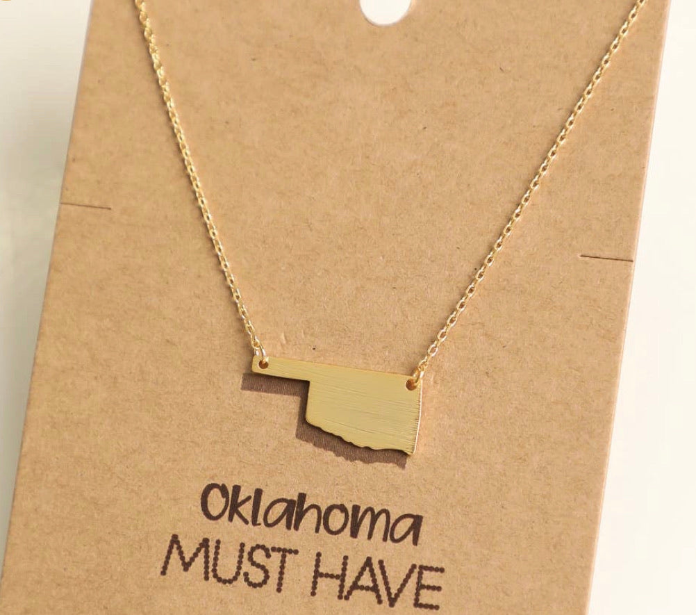 Gold OK State Necklace