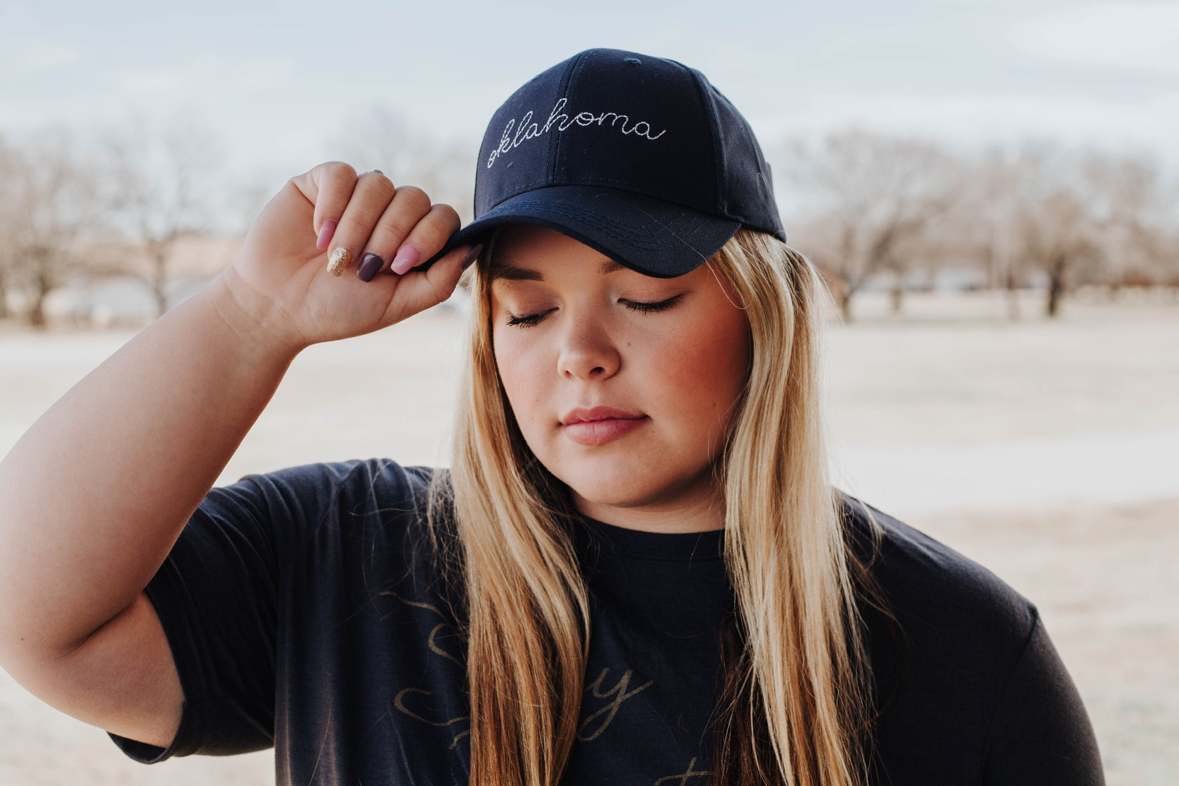 Navy Oklahoma Embroidered Hat