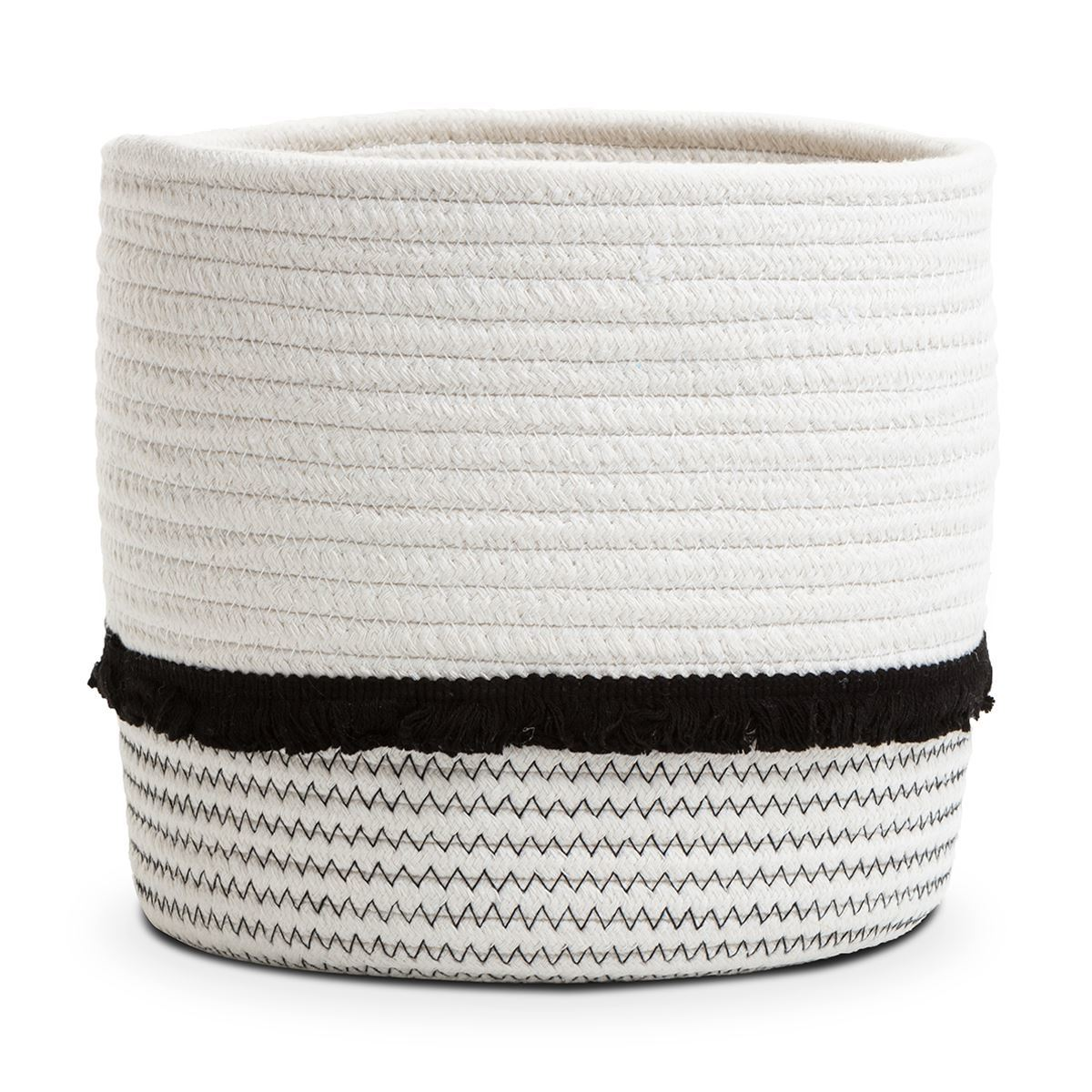 Tilly Cotton Rope Storage Basket & Black Frill Small