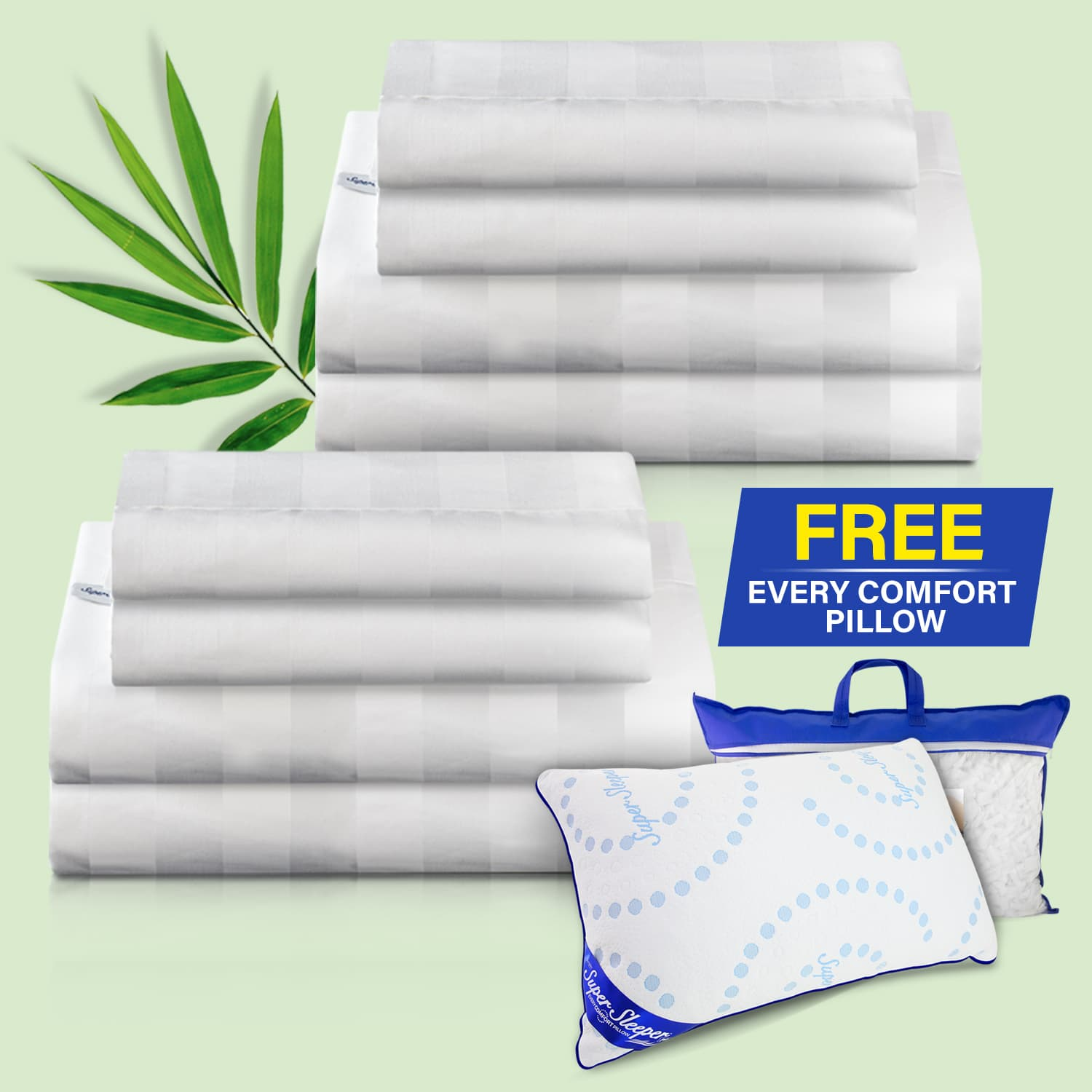 Two Royal Deluxe Natural Bamboo Dream Sheet Sets folded with an Every Comfort Pillow