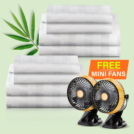 Royal Deluxe Natural Bamboo Dream Sheet Sets folded with Mini Fans
