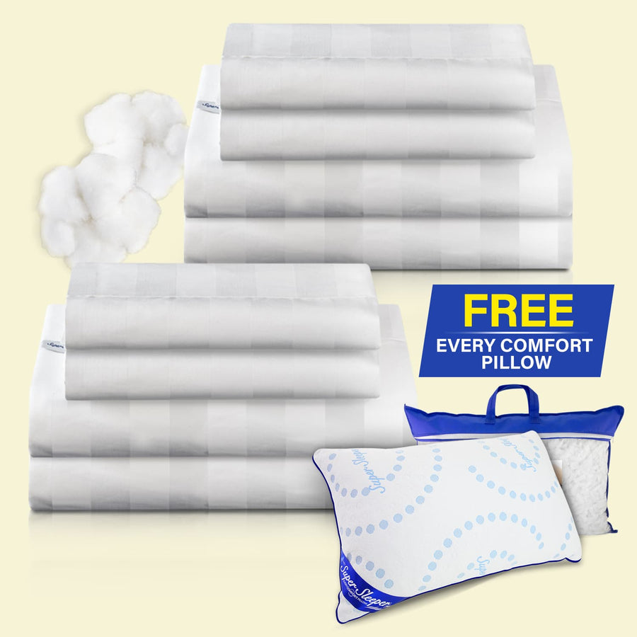 TV Special Royal Deluxe Breathable Cotton Dream Sheet Set - Buy 1 Get 1 FREE + FREE Adjustable Every Comfort Pillow
