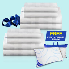 Two Royal Deluxe Super Weave Dream Sheet Sets folded with an Every Comfort Pillow
