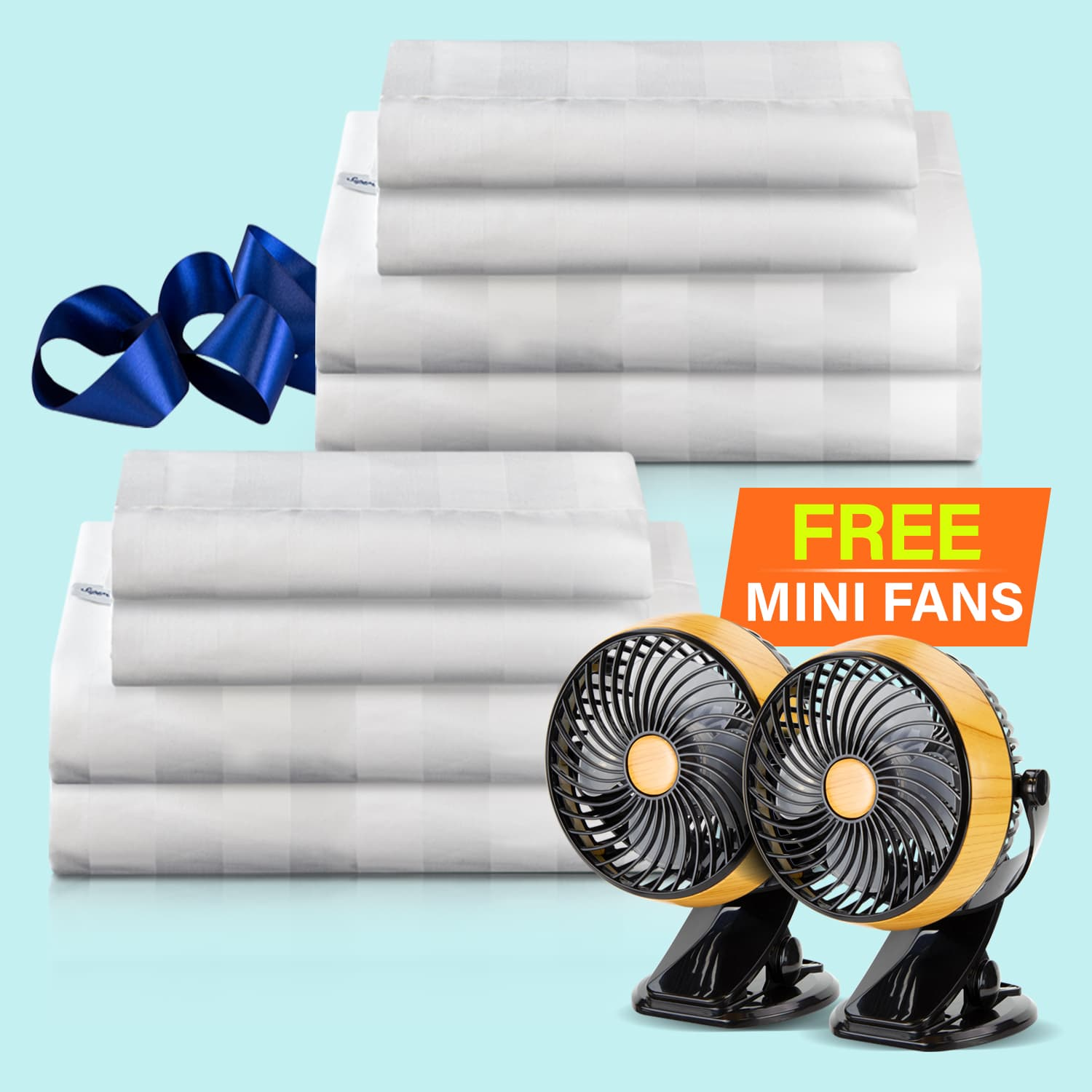Two Super Dream Weave Sheet Sets folded with Two Free Mini Fans