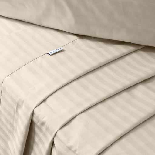 Damask Stripes on the Beige Cotton Sheets
