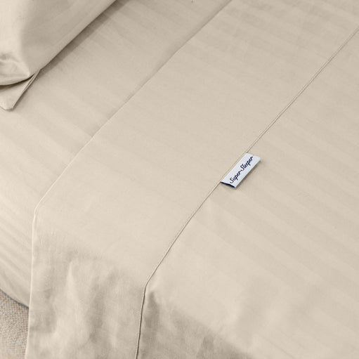 Super Sleeper Pro Tag on Beige Cotton Sheets