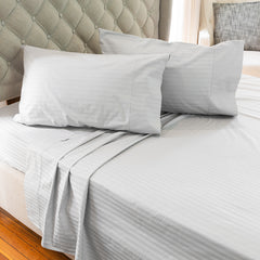 Silver Cotton Royal Deluxe Dream Sheet Set on a bed