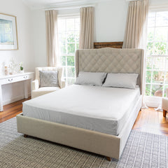 Bedroom with a bed set with the Silver Cotton Royal Deluxe Dream Sheets