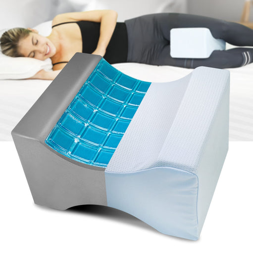 Lumbalign Leg Pillow and a woman laying bed using another one