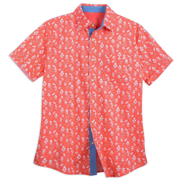 Disney Button Up Shirt for Men - Mickey Mouse Tropical - Orange