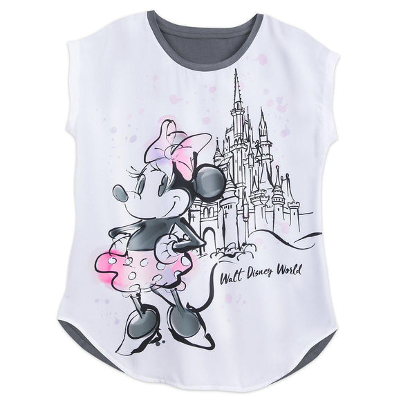 Disney Sweet Minnie Mouse at Cinderella Castle Watercolor Ladies Shirt