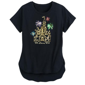 Disney Cinderella Castle Sequin Ladies Shirt