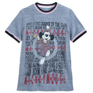 Disney Mickey Mouse Leader of the Club Lyrics Song Ringer Mens Shirt