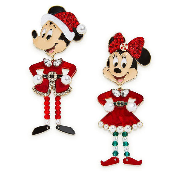 Disney Santa Mickey and Minnie Mouse Holiday Earrings by BaubleBar - Pixiedust Shopper