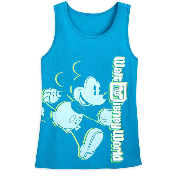 Disney World Mickey Mouse Neon Tank Top for Women– Blue