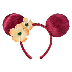 Minnie Mouse Ear Headband with Plumeria