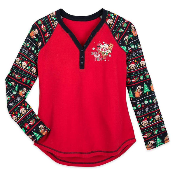 Disney Mickey and Minnie Mouse Holiday Thermal Top for Women