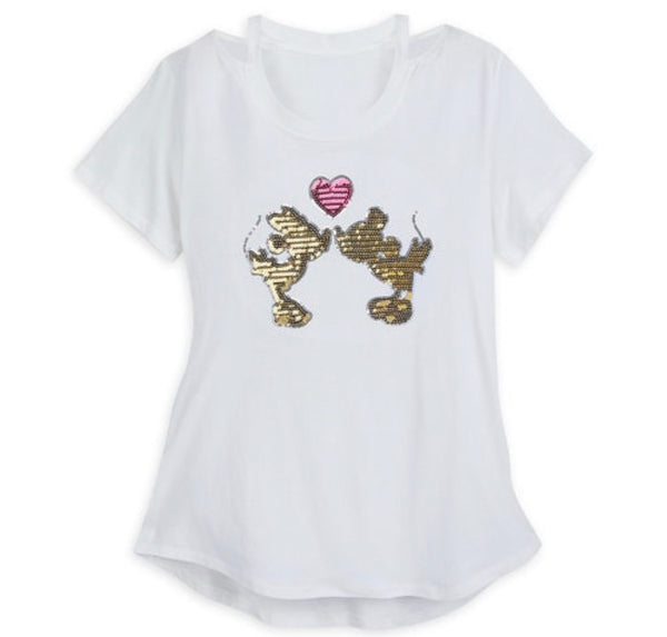 Disney Minnie and Mickey Sequin Heart Cut Out Ladies Shirt
