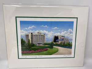 "Disney CONTEMPORARY RESORT Larry Dotson Print 8x10"" Matted Print"