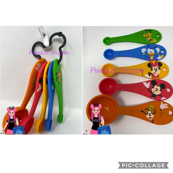 Disney Mickey, Minnie, Donald, Goofy, and Pluto Measuring Silicone Spoons