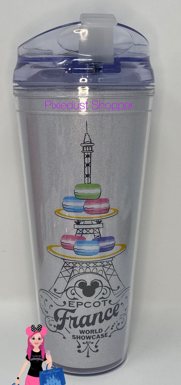 Disney Epcot France World Showcase Mickey Macaron Glitter Tumbler Cup