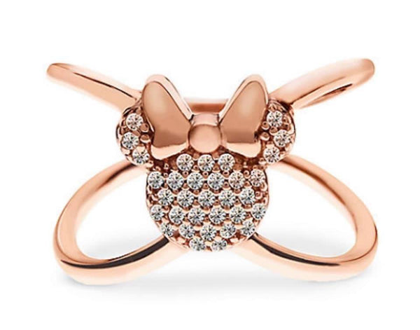 "Disney Rebecca Hook Ring - Minnie Mouse ""X"" Ring - Rose Gold"
