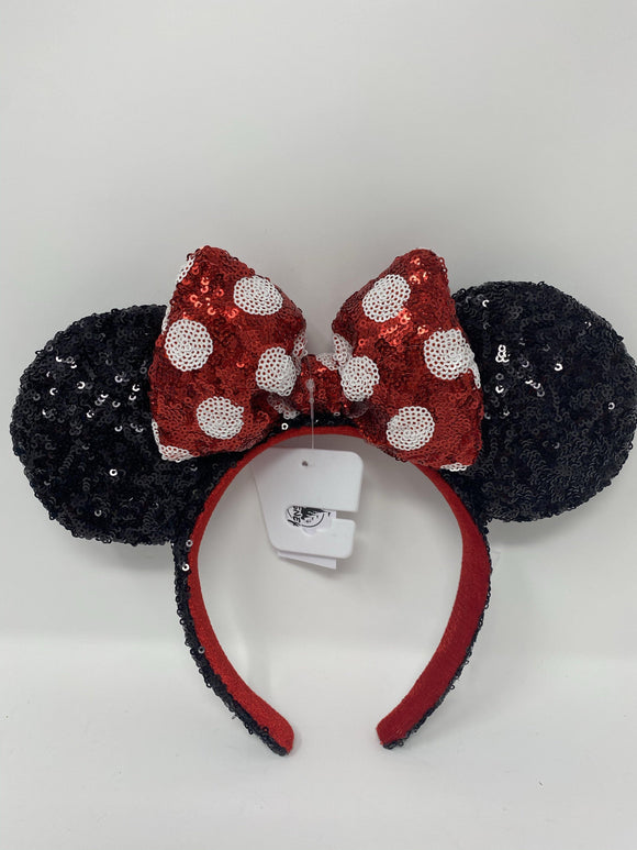 Disney Black Sequin Minnie Ear Headband with Red Polka Dot Bow