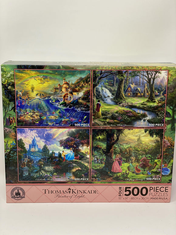 Disney Parks Exclusive Thomas Kinkade Puzzle 4 in 1 500 Piece Puzzles