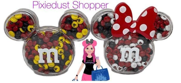 Disney Springs M&Ms Mickey or Minnie Containers filled with Matching M&Ms - Pixiedust Shopper
