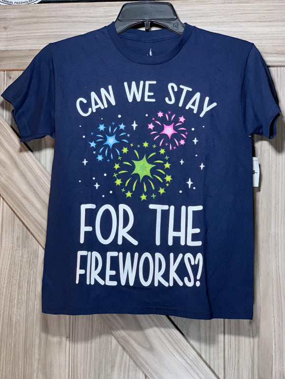 "Disney ""Can We Stay for the Fireworks?"" Kids Shirt Medium"