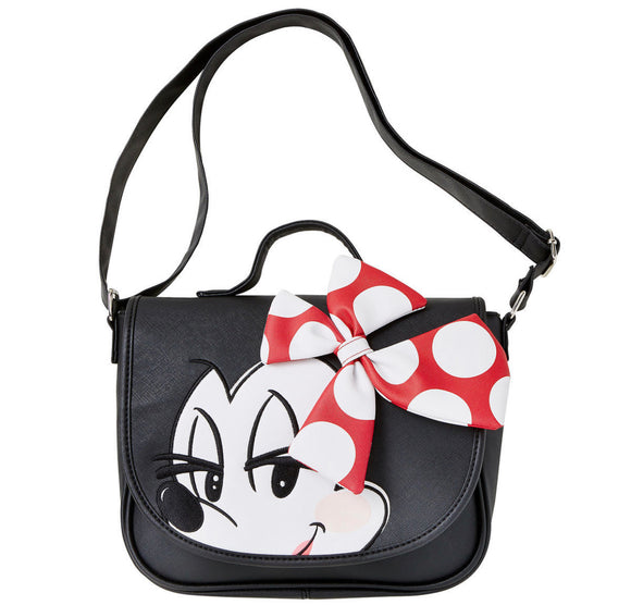 Disney Loungefly Minnie 3D Bow Saddle Bag Crossbody Purse
