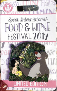 Disney Pin - Mowgli & Baloo Jungle Book - Epcot Food & Wine Festival 2019 - Limited Edition