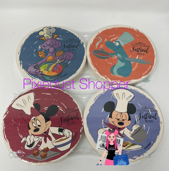 Disney Epcot Food and Wine Festival 2020 Figment, Remy, Mickey, and Minnie Ceramic Coaster Set