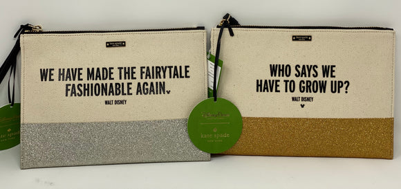 Disney Kate Spade Canvas Glitter Walt Quote Gold, or Silver Wristlets