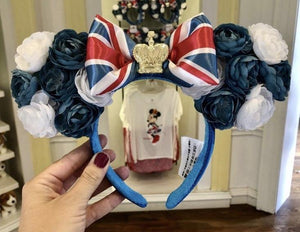 Disney Epcot UK World Showcase Minnie Rose Ear Headband