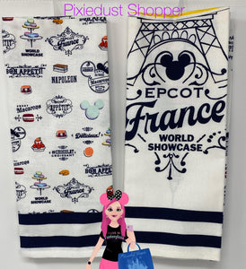 Disney Epcot France World Showcase Macaron 2 Hand Towel Set