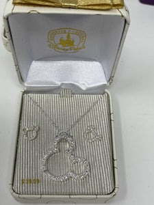 Disney Silver Rhinestonre Mickey Head Necklace and Matching Earring Set