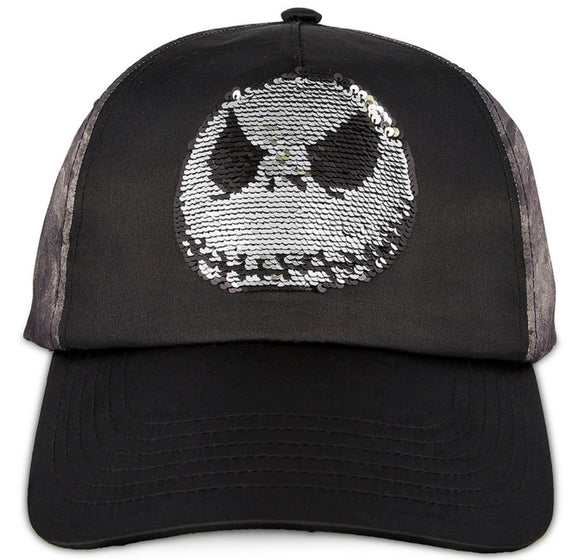 Disney Nightmare Before Christmas Jack Skellington Flip Sequin Adult Baseball Hat