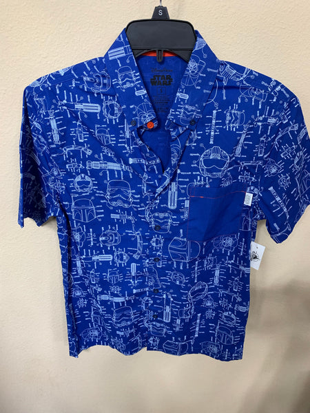 Disney Star Wars Blue Print Button Camp Shirt