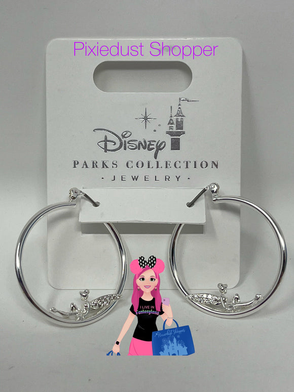 Disney Parks Jewelry Collection-Silver Tinkerbell Hoop Earrings