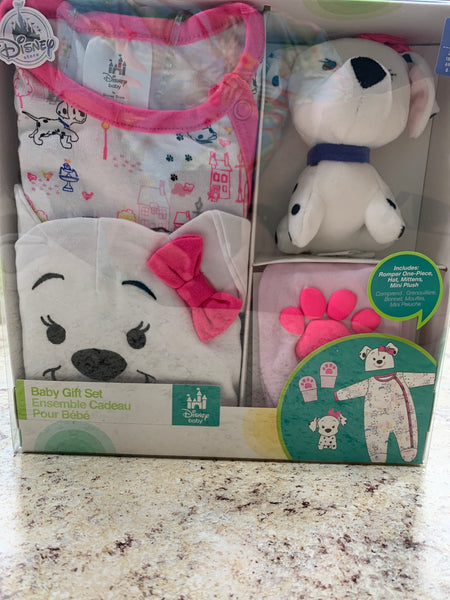 Disney Baby Girl Dalmatian 4 Piece Set-Romper, Hat, Mittens, & Mini Plush