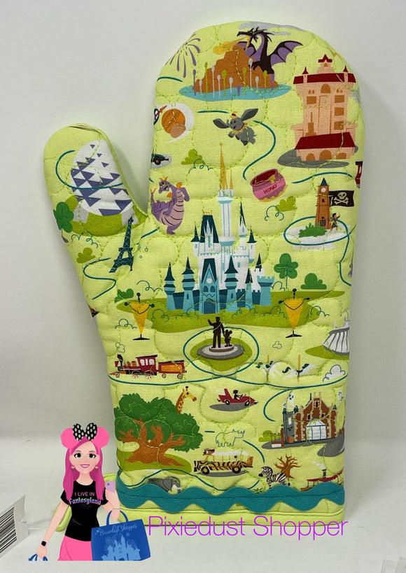 Walt Disney World Map Oven Mitt-Magic Kingdom, Epcot, Tower, Animal Kingdom