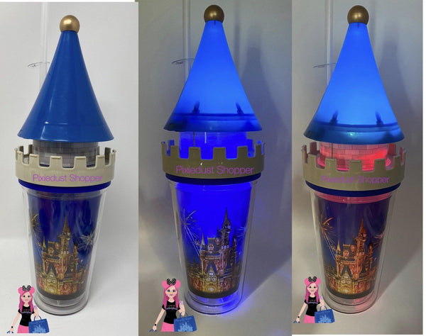 Disney Magic Kingdom Cinderella Castle Happily Ever After Light Up Tumbler Cup with Straw